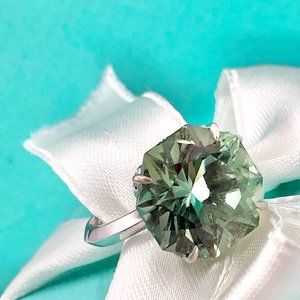 Tiffany & Co 18k Octagon Prasiolite Sparklers Ring